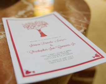Printable Wedding Program, Heart Tree with Love Birds, Custom Design - Prints on 8.5 x 11