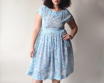 vintage plus size dress | blue floral 50s party dress, size 12-14