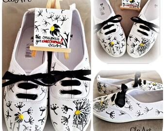 Beautiful Dandelion Hand Painted Sneakers, Sneakers, Shoes, Flowers, Dandelion, Custom Sneakers, Floral, Black and White, Footwear, Art