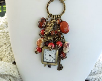 Clock Necklace Bronze Owl Necklace Charm Cluster Long Necklace Victorian Style Steampunk Jewelry  Gift for Women
