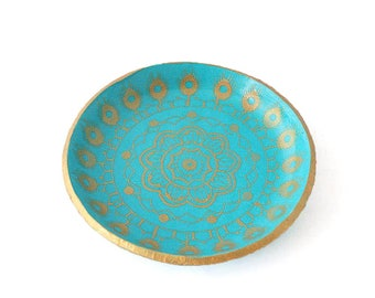Turquoise Ring Dish - Jewelry Holder - Trinket Dish - Mandala Home Decor - Ring Holder - Coin Tray - House Warming Gift - Gift for Her