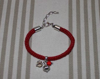 Bright red cotton knitted bracelet, beads and silver