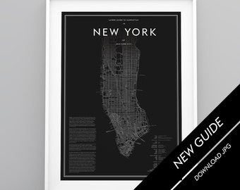Studio Layers Guide to New York City Manhattan Map white black poster