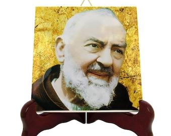 Catholic Saints - Saint Pio of Pietrelcina collectible St Pio icon on ceramic tile - Padre Pio - St Pio, Father Pio - San Pio catholic saint