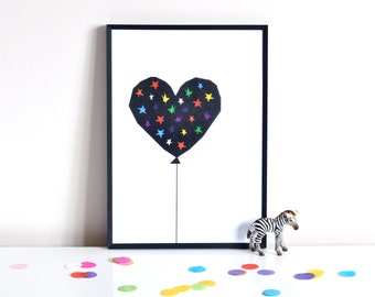 Rainbow Stars Balloon Print