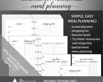 Printable Meal Planning Bundle for the Mini Happy Planner
