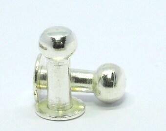6 pcs 17 x 9 mm Silver Plated Brass Studs, Cufflink, studs, shirt collar tuxedo stud, 1512