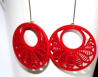 Red Wooden Earrings, Holiday Earrings, Boho Earrings,