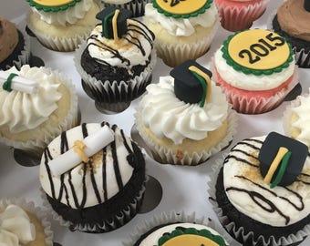 Graduation Fondant Cupcake Toppers