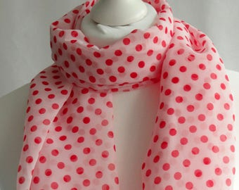 Polka dot scarf, White and red polka dot scarf, Dot print, scarf, Scarf for her, Lightweight scarf, Fashion scarf, Shawl