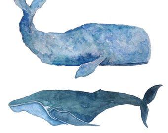 Whale Friends  Watercolor Print