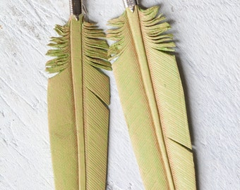 dusty mint hand carved leather feather earrings