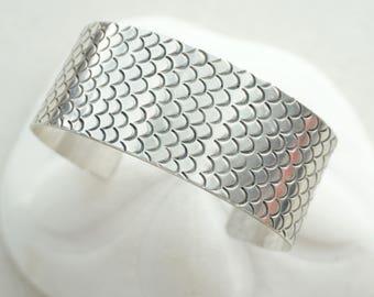 Sterling Silver Handstamped Mermaid Cuff Bracelet - Mermaid Jewelry, Mermaid Scales, Fish Scales, Mermaid Bracelet, Mermaid Cuff