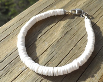 White Shell Bracelet with Swivel Lobster Clasp