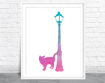 Cat Art, Cat Watercolor, Kitten and Lampost, Pink and Green