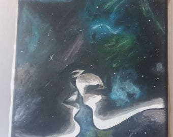 Love in the galaxy painting, acrylic painting