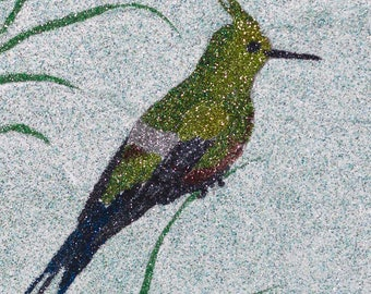 Glitter Painting - Wire-Crested Thorntail Hummingbird