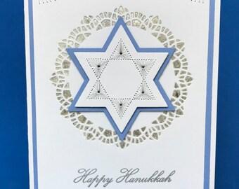 Embroidered 3D Happy Hanukkah Card, 3D Handmade Hanukkah Card, 3D Hand Made Hanukkah Card, Unique Hanukkah Card, Unique Holiday Card
