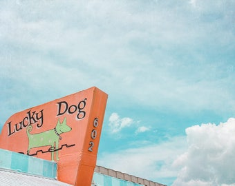 Venice Florida, Diner Photography. Mid Century Diner, Kitchen Decor, The Lucky Dog Diner, Vintage Style Photography, , Chartreuse.