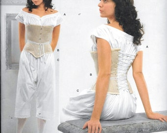 Simplicity 2890 Misses Civil War Underwear Corset Chemise Drawers Historical Costume Sewing Pattern Size 8, 10, 12 and 14