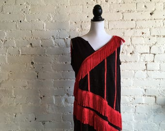 1920s Flapper Dress Red/Black