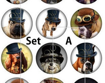 Steampunk Dog Pins, Magnets or Flat Back Buttons, 1 Inch, 5 or 12ct sets, Different designs available, Dog Party Favors, Dog Lover Gifts
