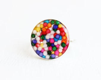 Candy Resin Ring, Sterling Silver Ring, Sterling Silver Resin Ring