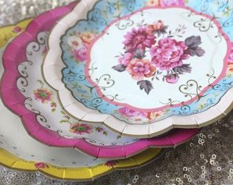 8 FLORAL TEA PARTY Mint Paper Plates Gold Parisian Vintage