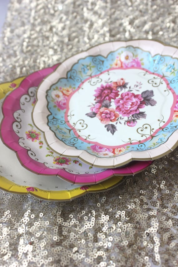 Sale 12 FLORAL TEA PARTY Mini Paper Plates Parisian Vintage Style Shabby Chic Garden Tea Time Mint Green Pink Yellow Blue Rose French Paris from ... & Sale 12 FLORAL TEA PARTY Mini Paper Plates Parisian Vintage Style ...