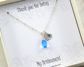 Bridesmaids Necklace,Personalized Bridesmaids Necklace,Bridesmaids Gift,Initial And Birthstone Necklace,Thank You For Being My Bridesmaid