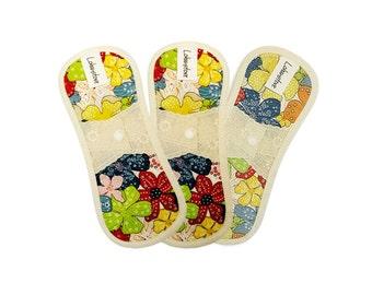 "7.5"" Reusable Cotton Cloth Menstrual Pads with PUL / cloth pantyliner / cloth pads starter set / cloth pads set - 3 Pantie liners (Maple)"