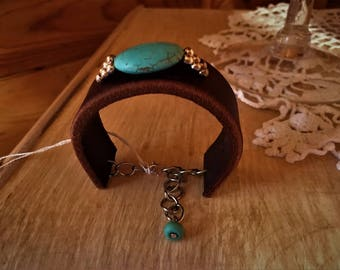 Turguoise Leather Bracelet