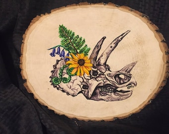 Triceratops with Flowers on Slice