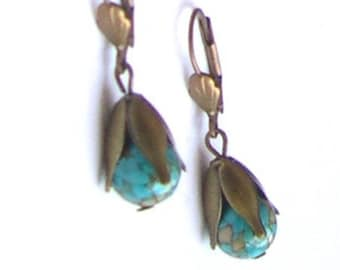 BUCKLES of ears Stud EARRINGS with mosaic turquoise stone beads