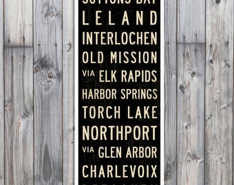 SMALL Michigan Subway Art, Traverse City Poster, Michigan Art, Subway Sign, Bus Scroll, Cottage Decor, Wall Art. Canvas Art Print, 12x36.