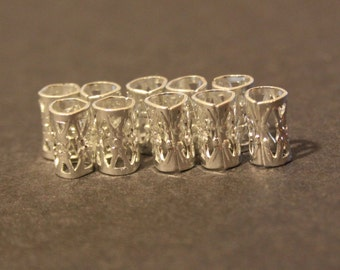 30 Micro Silver Dreadlock Beads Cuffs - DREAD Hair Beads 5mm Hole (3/16 Inch) & FREE Tibetan Silver Bead