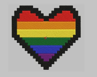 "Gay Pride  heart Embroidered  Patch Biker Tag  4"" X 4"""