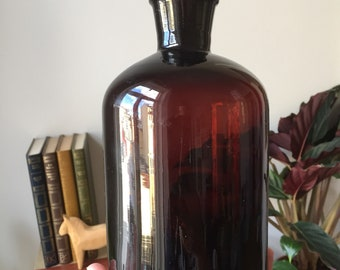 Swedish/Apothecary Bottle/pharmacy/amber/brown, Glass Jar, antique/vintage/Decor, Storage, tablescape/pharmaceuticals