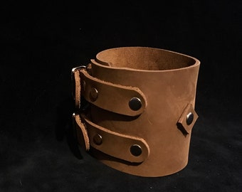 Leather Cuff Bracelet/ Buckled Leather Cuff/ Johnny Depp inspired cuff bracelet, genuine leather, black or brown, mens unisex cuff bracelet
