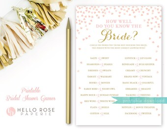 How Well Do You Know the Bride . Bridal Shower Game . Printable . Pink and Gold Bridal Shower Games . Instant Download . Gold Glitter