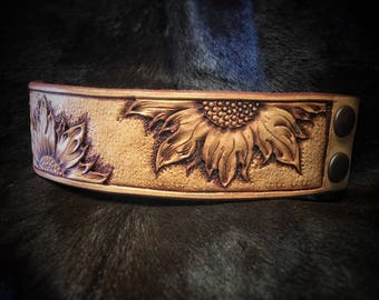 Beautiful Custom Hand Tooled Leather Sunflower Cuff Bracelet