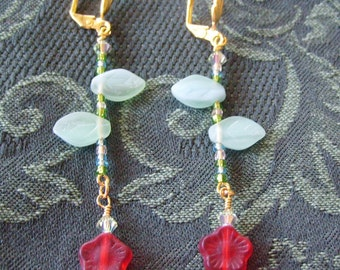 Hung to Dry...Red Flower Stem Earrings