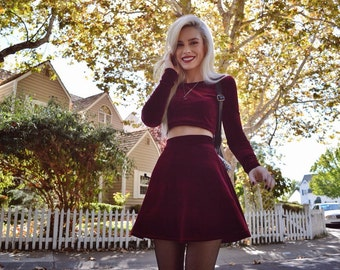 Two Piece Set Long Sleeve Velvet Dress Skirt and Crop Top, Twin Set, Marching Set
