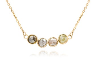 Raw Stone, Diamond Necklace, Rose cut diamond Necklace, 14k gold necklace, Gift for her, Unique necklace, Birthstone necklace