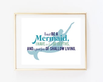 I Must Be a Mermaid Print - Mermaid Print - Mermaid Art - Nautical Print - Nautical Art