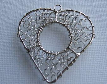 1 x Silver Wire Wrapped Heart Charm