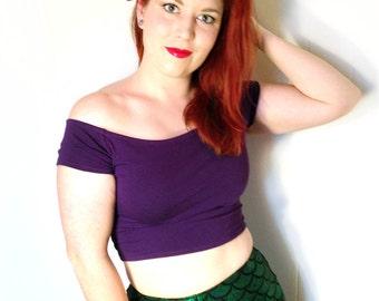 Purple Mermaid Top // Mermaid Princess Ariel Cosplay Shirt // Purple Crop Top