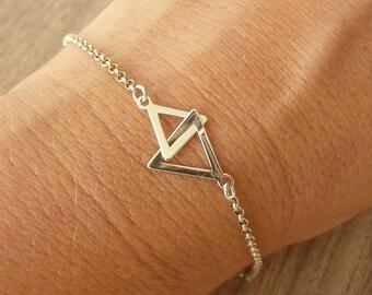 Sterling Silver Geometric Bracelet, Two Triangles Bracelet, Gold Geometric Bracelet, Minimalist Bracelet, 925 Sterling Silver Jewelry