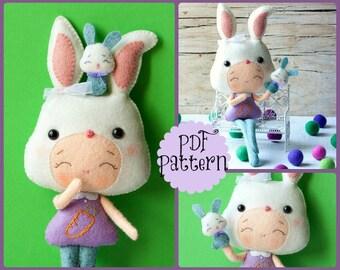PDF. Bunny girl with puppet .Plush Doll Pattern, Softie Pattern, Soft felt Toy Pattern.