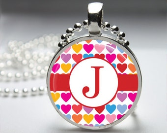 Red Heart Custom Monogram Initial Pendant Necklace with Silver Ball or Snake Chain Necklace or Key Ring